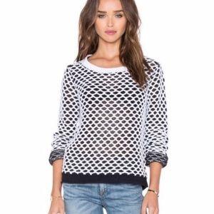 Rag & Bone Taryn Crochet Mesh Black White Sweater